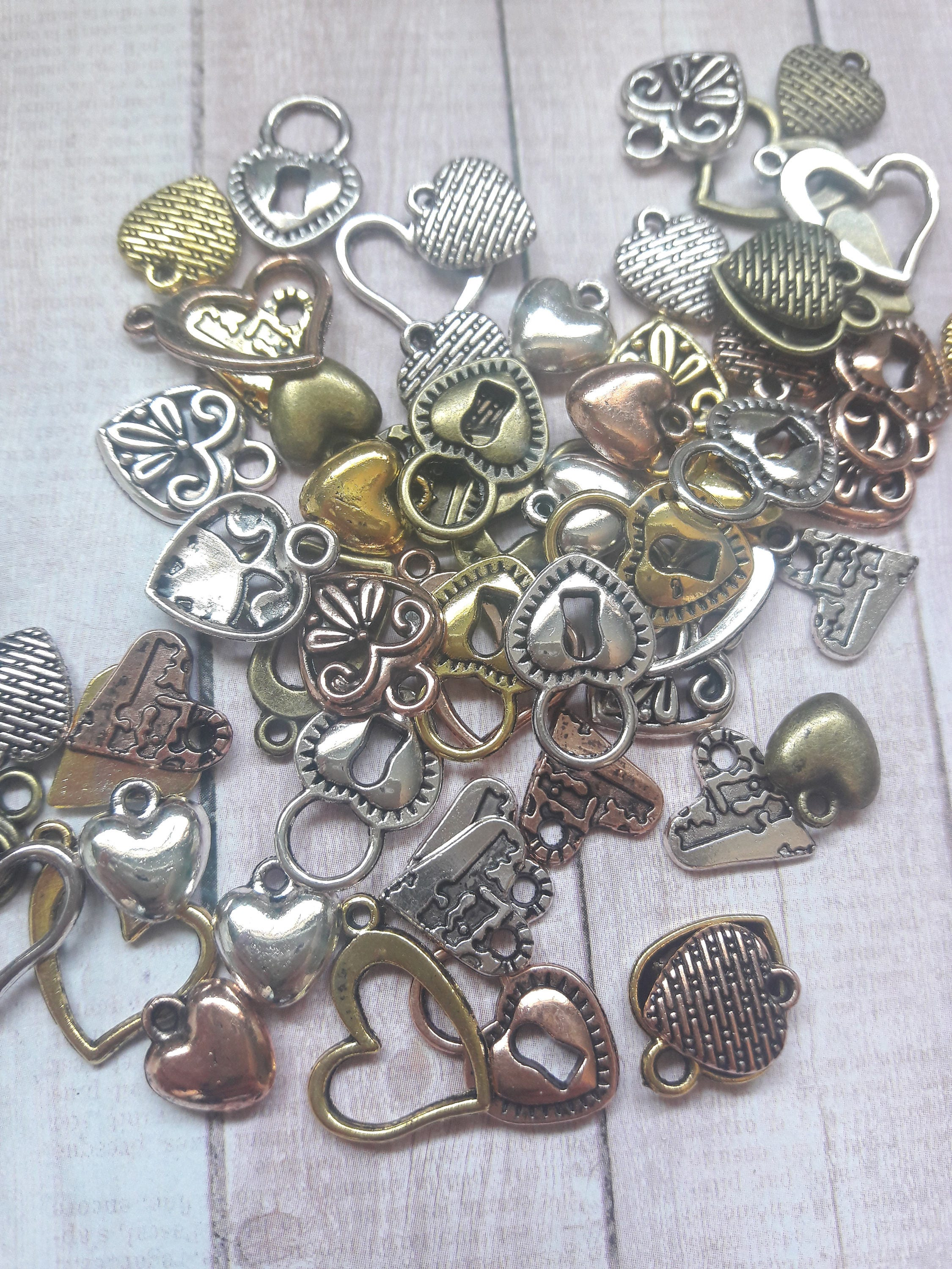 Mixed metal assorted heart charms jewelry craft supplies for Craft and jewelry supplies