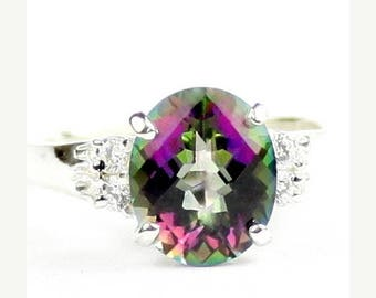 On Sale, 20% Off, Mystic Fire Topaz, 925 Sterling Silver Ring, SR123