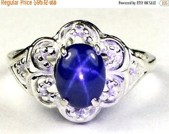 On Sale, 30% Off, Blue Star Sapphire, 925 Sterling Silver Ring, SR125