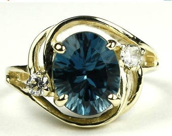 On Sale, 30% Off, Concave London Blue Topaz, 14KY Gold Ring, R021