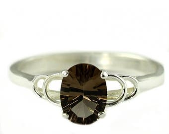 On Sale, 30% Off, Smoky Quartz, 925 Sterling Silver Ring, SR300