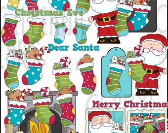 DIGITAL SCRAPBOOKING CLIPART - Christmas Stockings