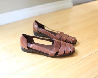 vintage woven brown leather hurache sandals womens 8 1/2