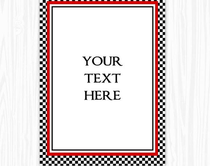 INSTANT Download - 5x7 Black and White Check BLANK Sign, Printable Sign or Invite, Birthday or Shower, Editable Sign or Invitation