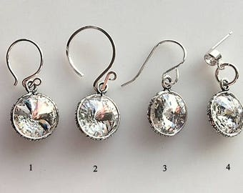 Large Swarovski Clear Crystal Earrings - Choice of Backing Wire or Post/Stud