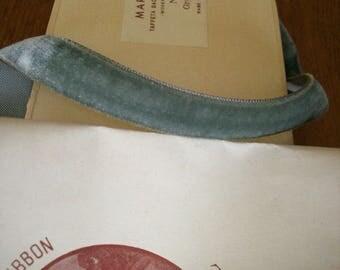 "Vintage rayon Antique Marquise Grey Velvet Trim Ribbon 1/2"" Yardage Old Store Stock"