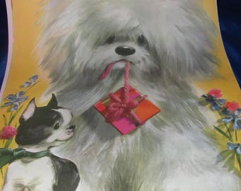 Colonial Studios Puppy Prints 1960s Kitsch Set of 4