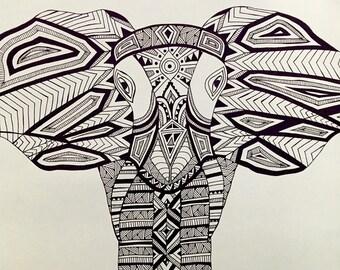 Zentangle doodle of an elephant