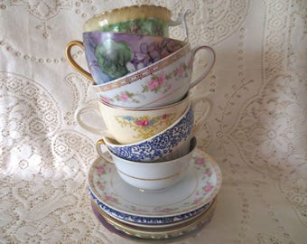 Set of 6 Mismatched Teacup Sets. Floral China Teacup and Saucers Mix. Shabby Chic Tea Party Bridal Shower, Alice in Wonderland. Floral China