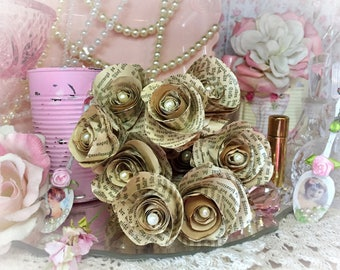 Vintage German Book Page Paper Roses Flower Bouquet Faux Pearls of Wisdom Wedding Home Decor Centerpiece Rustic Handcrafted Decor Decoration