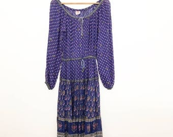 On hold 1970s indian cotton gauze block print hipoy dress