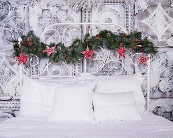 holiday headboard photography backdrop garland stars bed boudoir elegant shabby