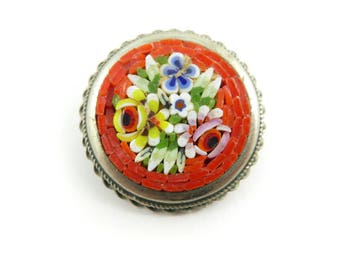 Vintage, Mosaic Brooch, Red, Flower Design, Glass Chips, Silver Tone, STN18