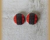 Lot de 2 perles en porcelaine réversibles  VERTICALES de 20mm (trou haut/bas) , création artisanale, fournitures pour composition de bijoux