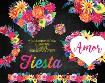Fiesta Watercolor Flowers,  Mexican flowers clip art, Love clip art, 6 PNG Individual  High Res floral  arrangements
