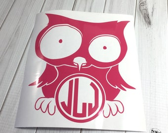 Owl Monogram, Owl Car Decal, Silly Owl Monogram, Owl Window Decal, Owl Monogram Decal, Owl Decal, Owl Sticker -  Choice of size and colors