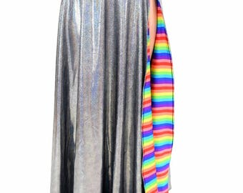 Silver Holographic Full Length Quick Release A-Line Skirt with Slit and Horizontal Rainbow Stripe Liner - 154847