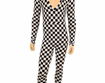 "Mens ""Mercury"" Catsuit with long sleeves and Mercury Cut V Neckline in Black and White Checkered Print - 155191"