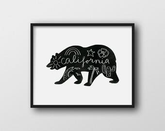 Minimalist California Bear Wall Art Print Home Decor 11x14 8x10