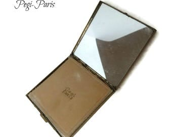 Vintage Square Compact - Pegi Paris Gold Tone Makeup Case, 1950s Accessories, Collectible Compact