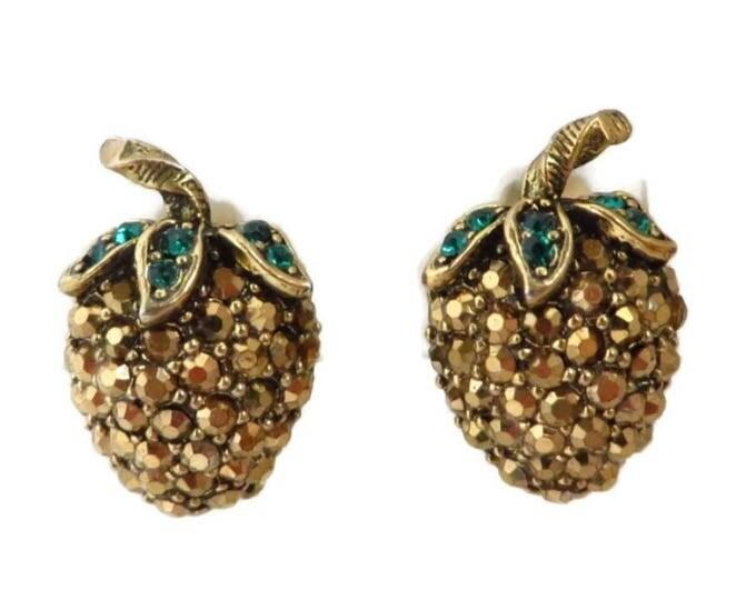 Weiss  Strawberry Earrings  Vintage Signed Weiss Gold Tone Green Rhinestone Clip-on Earrings