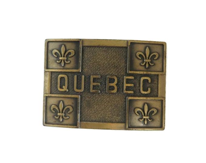 Quebec Belt Buckle, Vintage Canadian Brass Buckle, Unisex Belt Accessory, Quebec Souvenir Buckle