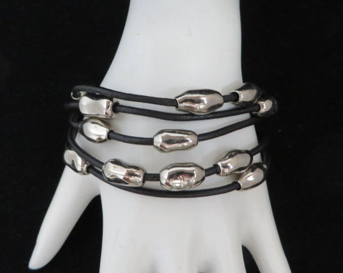 Silver Tone Bead Multistrand Bracelet, Vintage Black Wire Banded Boho Bracelet, Valentine's Day Gift