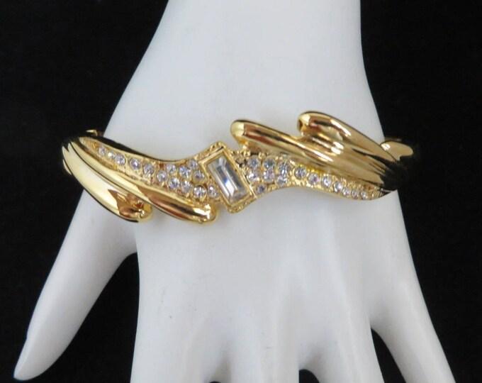 Gold Tone Rhinestone Bangle, Vintage Hinged Bracelet, Bridal Jewelry, Valentine's Day Gift
