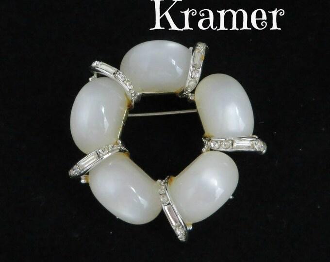 Kramer Brooch - Vintage White Moonstone Pin, Signed Designer Brooch, Crystal Baguette Wreath Pin, Gift Boxed
