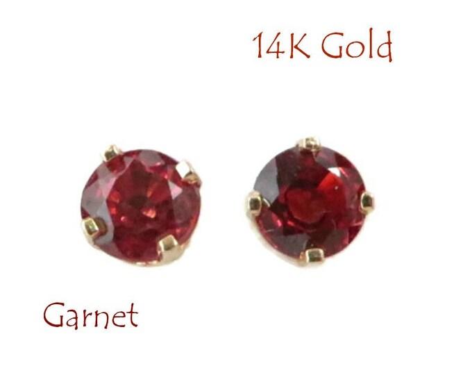 14K Gold Garnet Earrings - Vintage .50 CT Rhodolite Garnet Pierced Stud Earrings, Perfect Gift, FREE SHIPPING