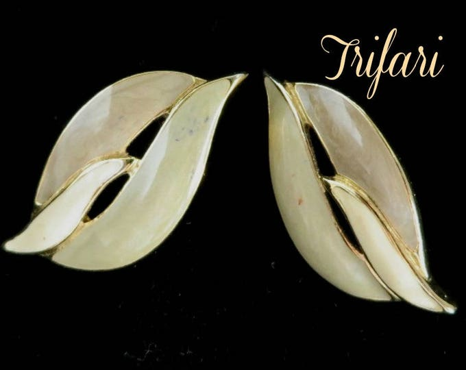 Vintage Trifari Earrings - Cream Enamel Pierced Earrings, Gold Tone Leaf Studs, Gift for Her, Gift Box, FREE SHIPPING