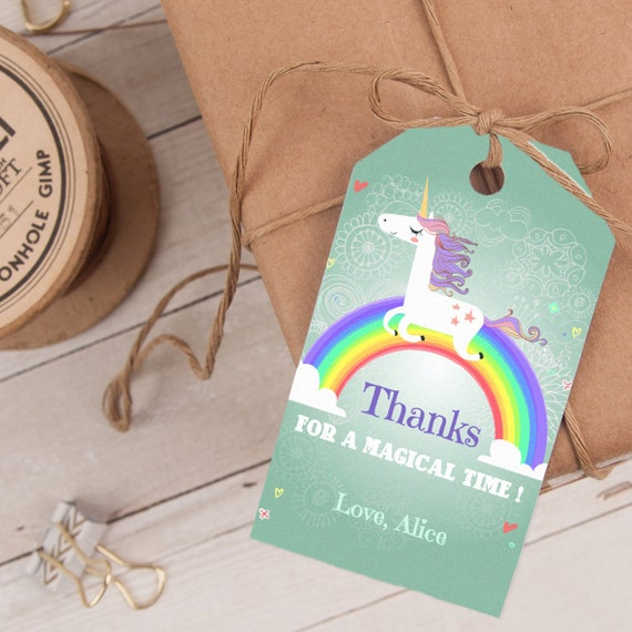 Unicorn Favor Tag, Unicorn Thank You Tag, Rainbow Party Favor Tag, editable INSTANT DOWNLOAD printable at home