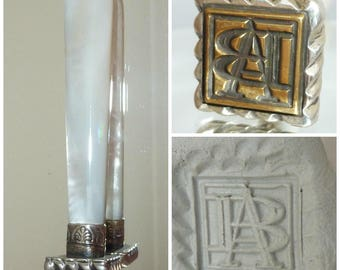 Victorian Sterling Silver Mother of Pearl MOP wax Seal monogram initials A B Desk Top