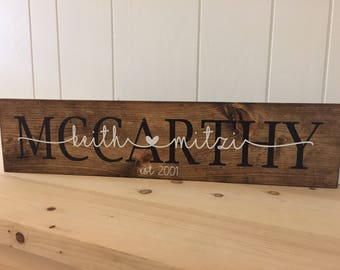 Custom Name Sign Personalized Name Wooden Sign Anniversary Sign