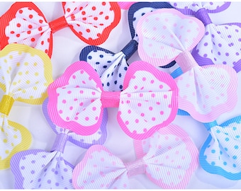 200 pieces ribbon of Polka Dots pattern Tied Folded Finished product 8 mixed colors for HairBows supply Craft supply Gift wrapping