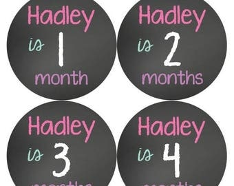 PERSONALIZED Baby Girl Month Stickers Monthly 12 Month Sticker Monthly Baby Stickers Baby Shower Gift Photo Prop Milestone Sticker 502