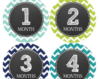 Monthly Baby Milestone Stickers Baby Boy Baby Shower Gift One-Piece Baby Stickers Monthly Baby Stickers Baby Month Sticker 072