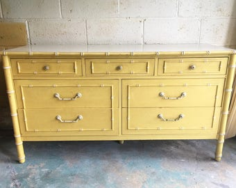 Vintage Thomasville Faux Bamboo 7 Drawer Dresser