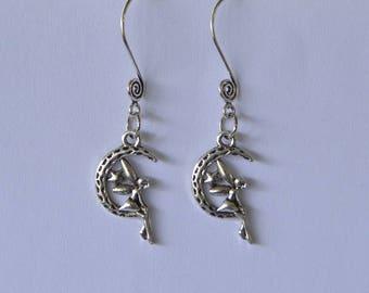 Fairy On The Moon Swirl Ear Wire Earrings