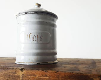 French decor, Kitchen CANISTER white and gold/French enamelware/ French decor/French kitchen/ Shabby chic/ French country