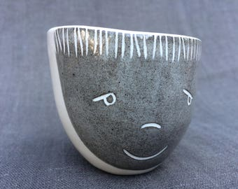 Smiling Grey and White Face Cup: espresso-sized, modern handmade, hand built.