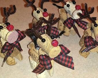 Reindeer, Tree decoration, Wine cork. Christmas,Ornament, Vintage.