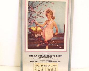 1950 Advertising Wall Calendar La Vogue Beauty Shop Campellford Ontario Canada