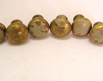 6 Vintage Heavy Brass Knobs 1 Inch Drawer or Cabinet Pulls Chippy Paint