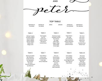 Printed Personalised Wedding Table Plan, Seating Chart, Seating plan, table chart, Wedding breakfast, script font, Modern calligraphy poster