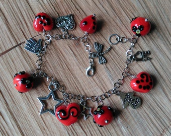 Handmade Lampwork Charm Bracelet with Red Heart Shaped beads