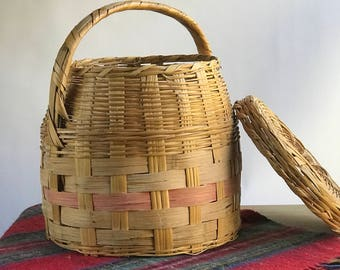 Large Split Oak Basket with Lid with Handle / Oversized Split Oak Basket
