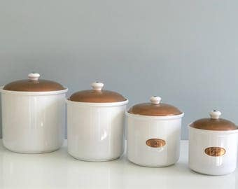 copper canister set kitchen vintage kitchen canisters etsy 16850