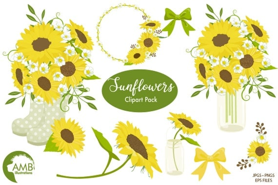 Sunflower Clipart Wedding Shabby Chic Sunflowers Country