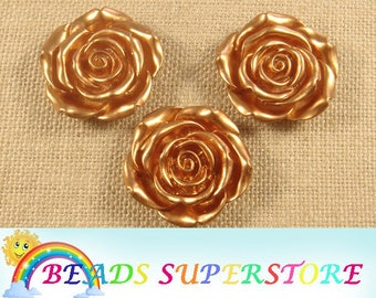 42 mm Gold Rose Flower Resin Bead - Gumball Bead - Acrylic Chunky Bead  (42M02)